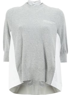 poplin insert knitted top Sacai