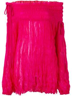 блузка с открытыми плечами и присборенной отделкой Nº21