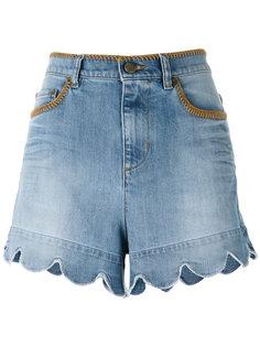 джинсовые шорты с фестончатым подолом Red Valentino