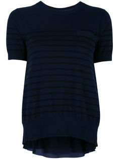cupro insert short sleeved sweatshirt Sacai