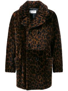 леопардовое пальто из овчины Saint Laurent