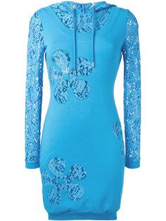 платье-толстовка с кружевными панелями Moschino