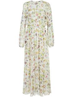 длинное шифоновое платье с узором Adam Lippes