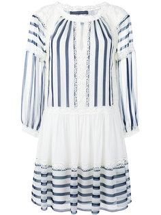 расклешенное полосатое платье с кружевной отделкой Alberta Ferretti