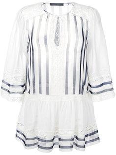 полосатая блузка с кружевной отделкой Alberta Ferretti