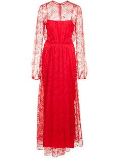 длинное кружевное вечернее платье Adam Lippes