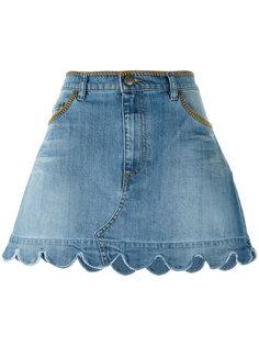 джинсовая юбка с фестончатым подолом Red Valentino