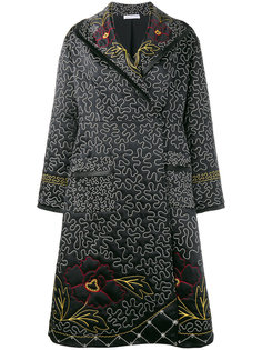floral and squiggle embroidered coat J.W.Anderson