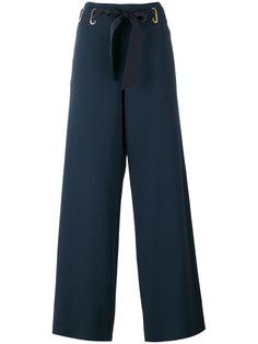 расклешенные брюки с поясом на завязках Alberta Ferretti
