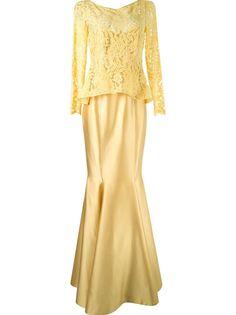 длинное платье с кружевным топом Martha Medeiros