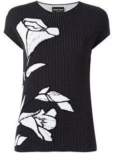 футболка с цветочной вышивкой  Emporio Armani