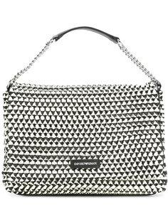 сумка на плечо с контрастной фактурной отделкой Emporio Armani