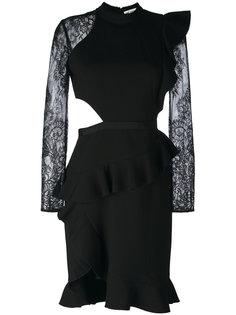 lace sleeves pleated trim dress Self-Portrait