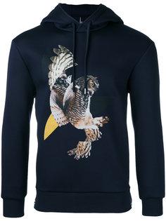 modernist owl print hoodie Neil Barrett