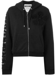 lace insert hoodie Moschino