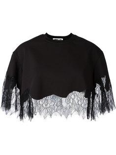 укороченная блузка с кружевной отделкой McQ Alexander McQueen