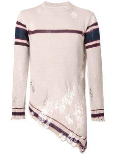 свитер с рваными деталями   Maison Mihara Yasuhiro