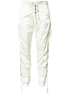 layered satin track pants  Greg Lauren