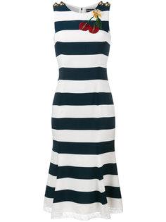 полосатое платье с аппликацией в виде вишен Dolce & Gabbana