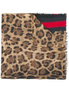 шарф Web с леопардовым принтом Gucci