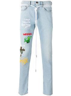 облегающие джинсы с принтами Off-White