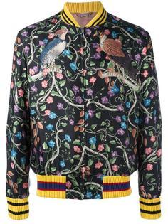 куртка-бомбер с цветочным принтом   Gucci