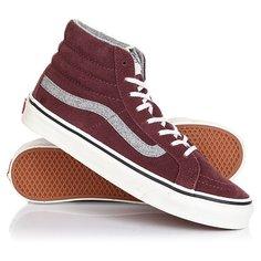 Кеды кроссовки высокие Vans Sk8-hi Slim (vintage Suede) Red Mahog