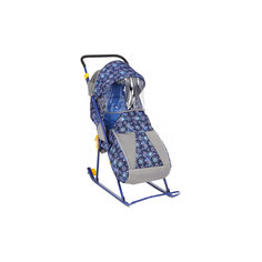 Санки-коляска Снежинка премиум, Galaxy, снежинки/синий