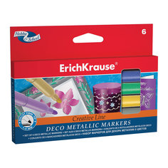 Фломастеры ArtBerry Metallic easy washable, 6 цветов Erich Krause