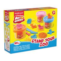 Набор для лепки: Пластилин на растительной основе Stamp Your Zoo 3 цвета по 35г Erich Krause