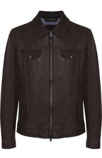 Кожаная куртка на молнии с отложным воротником Z Zegna