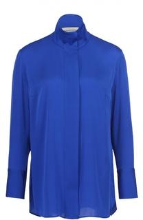 Шелковая блуза свободного кроя с высоким воротником By Malene Birger