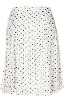 Шелковая юбка в складку в горошек Theory
