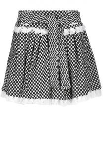 Мини-юбка в складку с контрастным принтом и поясом Dodo Bar Or