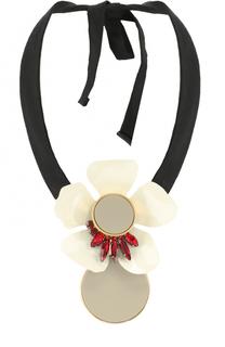 Колье с подвеской-цветком и кристаллами Marni