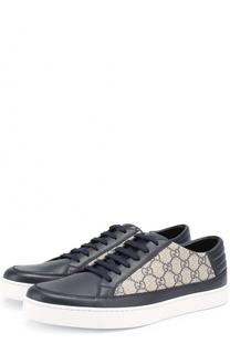 Кожаные кеды с принтом GG Supreme на шнуровке Gucci
