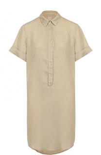 Льняное платье-рубашка с коротким рукавом 120% Lino