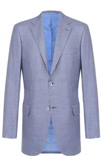 Однобортный пиджак в клетку из смеси шерсти и шелка Brioni