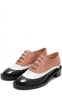Ботинки из комбинированной кожи на шнуровке Rochas