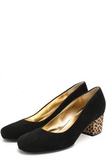 Замшевые туфли на декорированном каблуке Walter Steiger