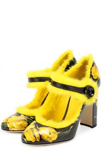 Кожаные туфли Vally с принтом и меховой отделкой Dolce & Gabbana