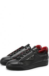 Кожаные кеды на шнуровке Fendi