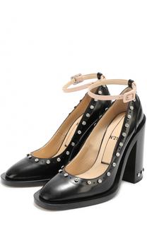 Кожаные туфли со стразами и ремешком на щиколотке No. 21