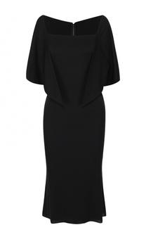 Приталенное платье-миди с укороченными широкими рукавами Dolce & Gabbana