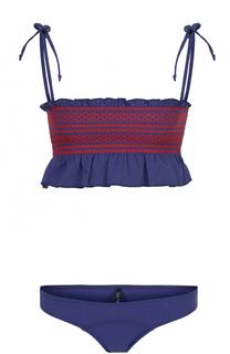 Раздельный купальник с контрастной отделкой и оборками Lisa Marie Fernandez