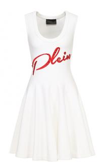 Вязаное мини-платье с контрастной отделкой Philipp Plein