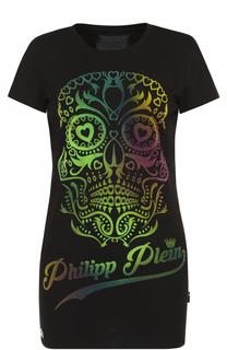 Удлиненная футболка прямого кроя с контрастной отделкой Philipp Plein
