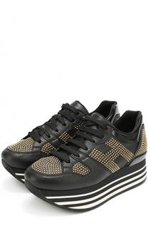 Кожаные кроссовки с заклепками Hogan