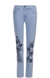 Джинсы прямого кроя с контрастной цветочной вышивкой Victoria by Victoria Beckham