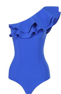 Слитный купальник асимметричного кроя с оборками Lisa Marie Fernandez